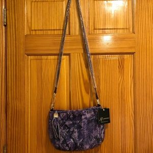 NWT B MAKOWSKY Purple Snakeskin Crossbody Bag